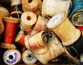 "Spools - Vintage Spools of Thread at the Flea Market, 8x12"" Fine Art Matte Photography Print, Wood Spools, Holga Camera Print"