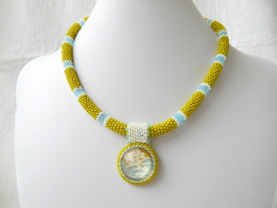 SALE - Blue, White Olive Green Seed Bead Pendant Necklace