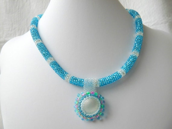 SALE - Turquoise, White, Silver Seedbead Necklace Pendant