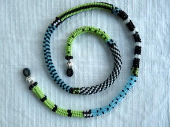 Aqua Green Black and White Eyeglass Leash
