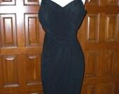 Black strappy tea length dress - LBD - draped detail