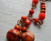 Wood & vermilion earrings