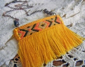 Petite fringe necklace, yellow woven textile pendant on copper chain, fabric jewelry, chevron fabric necklace