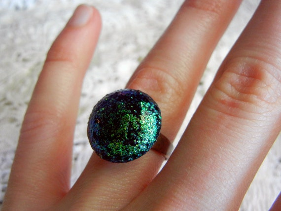 Iridescent nebula ring, peacock glitter ring, astral sparkle jewelry
