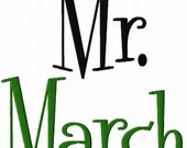 Mr. Month - Machine Embroidery Design - 6 Sizes