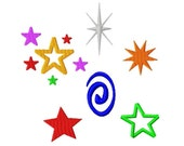 Add-Ons - Stars and Swirly Designs - Machine Embroidery - Different sizes in every design