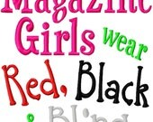 Magazine Girls wear Red, Black and Bling - Machine Embroidery Design -  8 Sizes