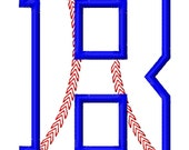"""Baseball Stitch Applique Font Set - Machine Embroidery Design - 4"""", 5"""", 6"""" tall and 5x7 Hoop"""
