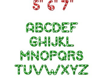 "JUMBO Candy Cane Machine Embroidery Font - Sizes 5"",6"",7"" - BUY 2 get 1 FREE"