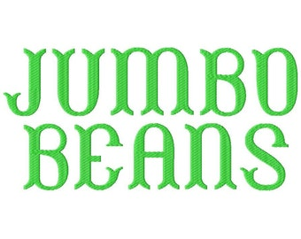 """JUMBO Beans Machine Embroidery Font - Sizes 5"""",6"""",7"""" and 5x7 Hoop - BUY 2 get 1 FREE"""