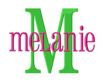 "Melanie Machine Embroidery Font - Sizes 1"",2"",3"",4"" BUY 2 get 1 FREE"