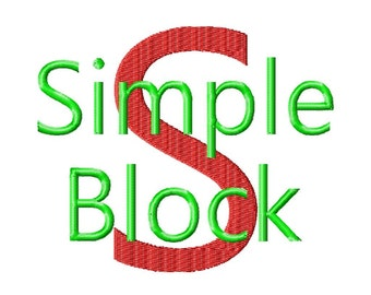 "Simple Block Machine Embroidery Font - Sizes 1"",2"",3"",4"" BUY 2 get 1 FREE"
