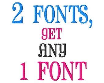 Buy ANY 2 Regular or Mini Fonts, Get 1 FREE - Machine Embroidery Fonts - Regular Sizes ONLY