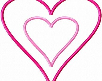 Heart Applique (single) - Machine Embroidery Design - 10 Sizes