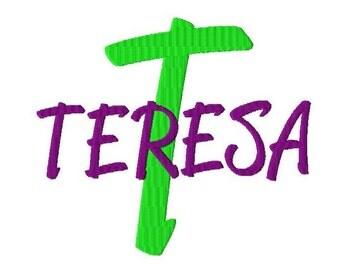 "JUMBO Teresa Machine Embroidery Font - Sizes 5"",6"",7"" and 5x7 Hoop - BUY 2 get 1 FREE"