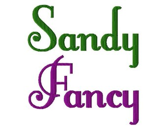 "Sandy Fancy Machine Embroidery Font - Sizes 1"",2"",3"",4"" BUY 2 get 1 FREE"