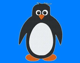 Penguin - Fill Stitch - Machine Embroidery Design - 11 Sizes