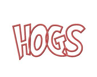 HOGS - 1 FABRIC - 1 TRIM - Applique - Machine Embroidery Design - 28 sizes - 2 types