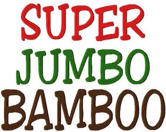 "SUPER JUMBO Bamboo Script Machine Embroidery Font - Sizes 8"", 9"" & 10"""