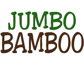 "JUMBO Bamboo Script Machine Embroidery Font - Sizes 5"",6"",7"" & 5x7 Hoop - Buy 2 get 1 Free"