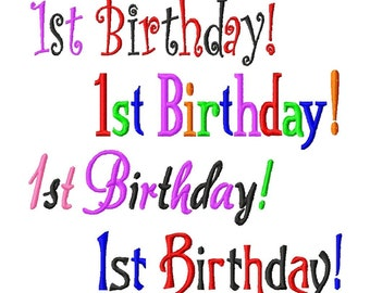 1st Birthday Design for a Banner or Sash - Machine Embroidery Design - 6 fonts - 5x7 Hoop