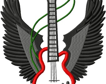 Guitar with Wings - Machine Embroidery Design - 8 Sizes
