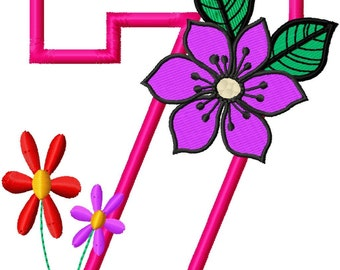 "Flower Applique Numbers - Machine Embroidery Design - 4x4 Hoop,5"",6"",7"" and 5x7 Hoop"