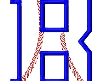 "Baseball Stitch Applique Font Set - Machine Embroidery Design - 5"", 6"" tall and 5x7 Hoop"