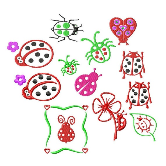 Ladybug Designs Machine Embroidery 9 Different Designs In