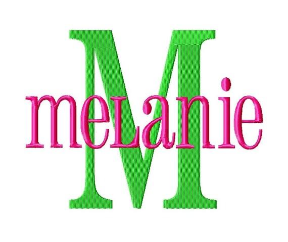Melanie machine embroidery font sizes