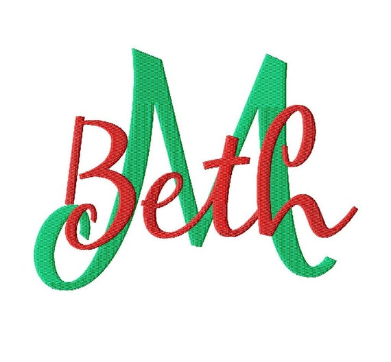 "JUMBO Mary Beth - Machine Embroidery Font - Sizes 5"",6"",7"" and 5x7 Hoop - BUY 2 get 1 FREE"