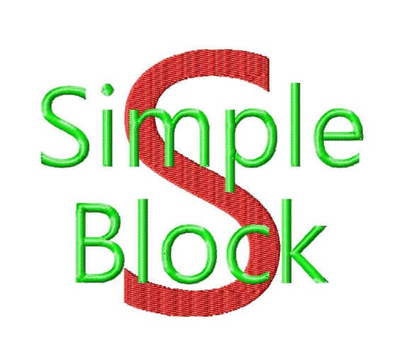 Simple block machine embroidery font sizes