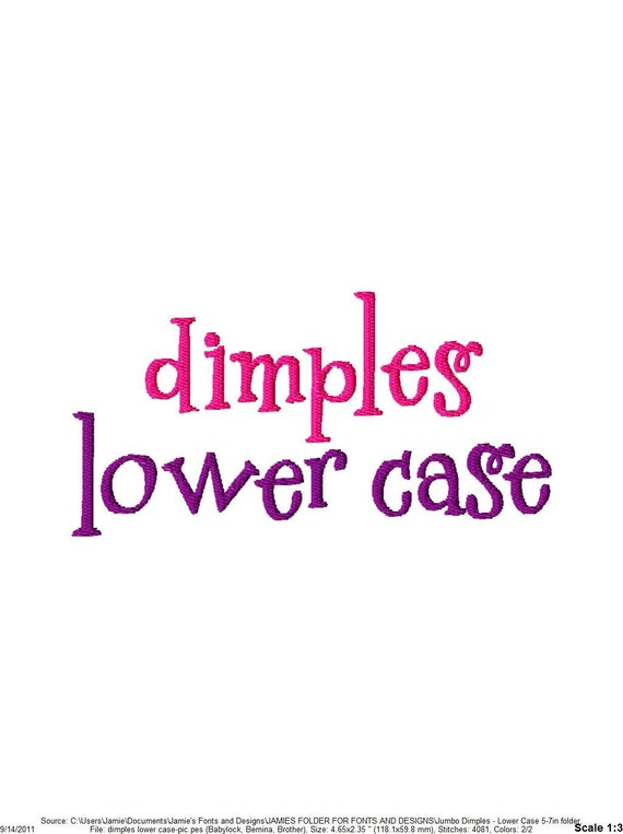 "JUMBO Dimples - Lower Case Letters - Machine Embroidery Font - Sizes 5"",6"",7"" - BUY 2 get 1 FREE"