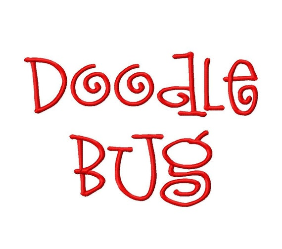 "Doodle Bug Machine Embroidery Font - Sizes 1"",2"",3"",4"" BUY 2 get 1 FREE"