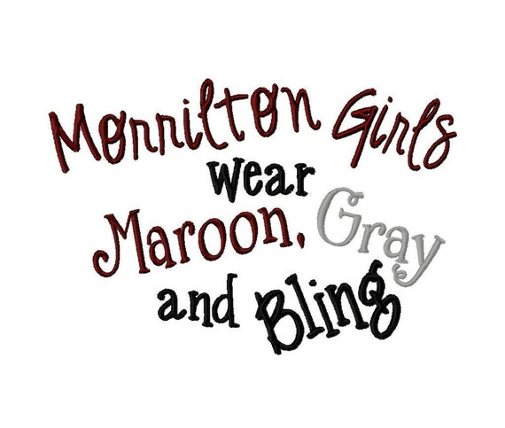 Morrilton Girls wear Maroon, Gray and Bling - Machine Embroidery Design - 9 Sizes
