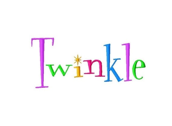 "Twinkle Machine Embroidery Font - Sizes 1"",2"",3"",4"" BUY 2 get 1 FREE"
