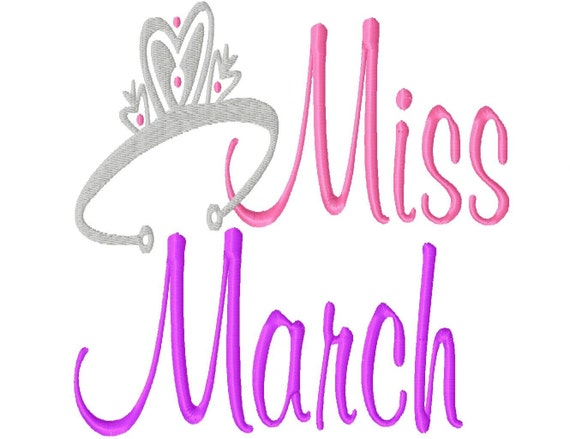 Miss Month with a Tiara - Machine Embroidery Design - 10 Sizes - in every month