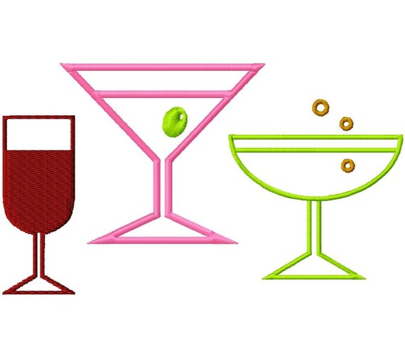 Add-Ons - Margarita-Martini-Wine Glasses Outlines - Machine Embroidery - 5 sizes in every design