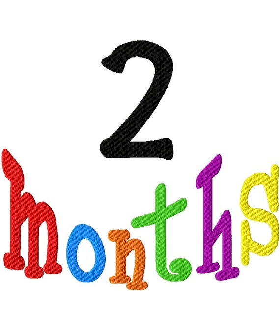 Months 1-12 - Machine Embroidery Design - 4 Sizes - in every month