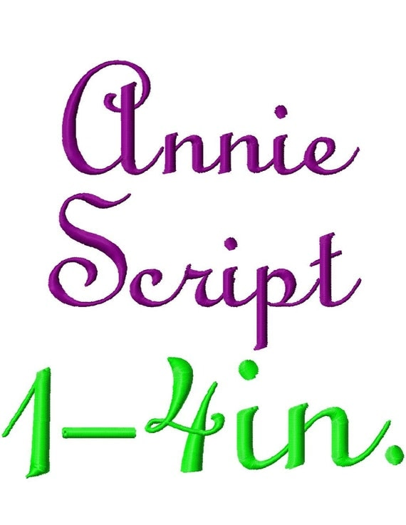 """Annie Script Machine Embroidery Font - Sizes 1"""",2"""",3"""",4"""" BUY 2 get 1 FREE"""