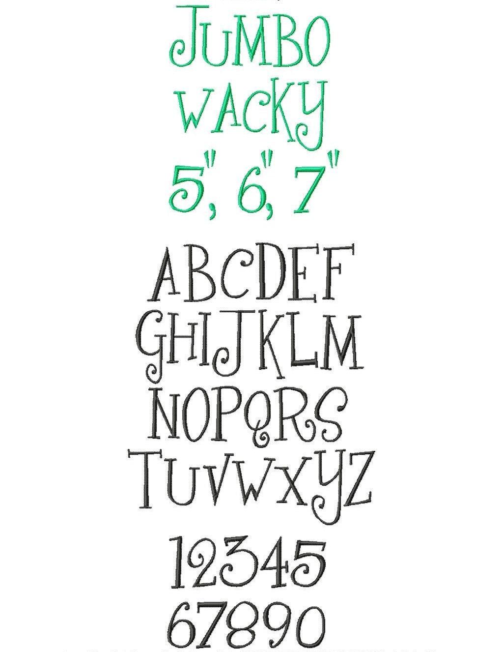 JUMBO Wacky Machine Embroidery Font Sizes