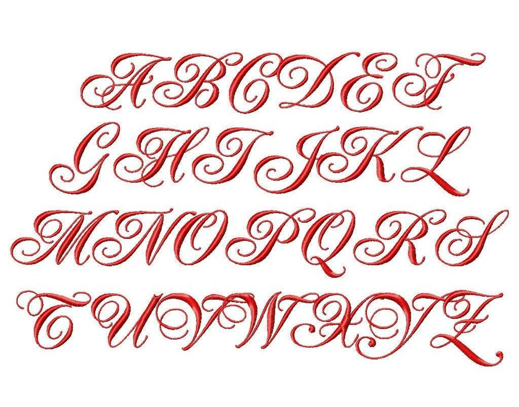 fancy script machine embroidery font