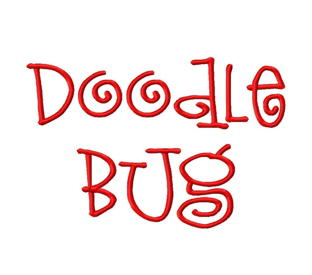 Doodle Bug Machine Embroidery Font Sizes 1234 By LilliPadGifts