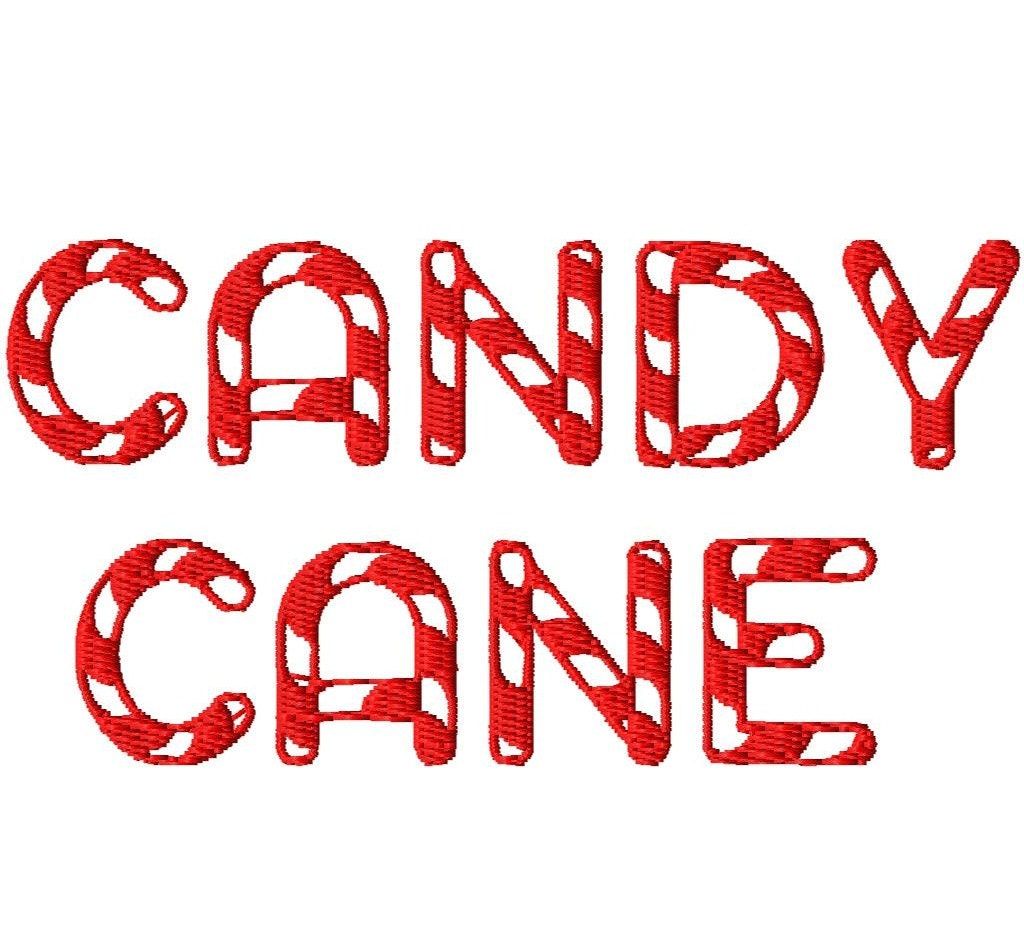 Candy Cane Machine Embroidery Font Sizes
