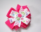 Peace love and pink, double layer bow
