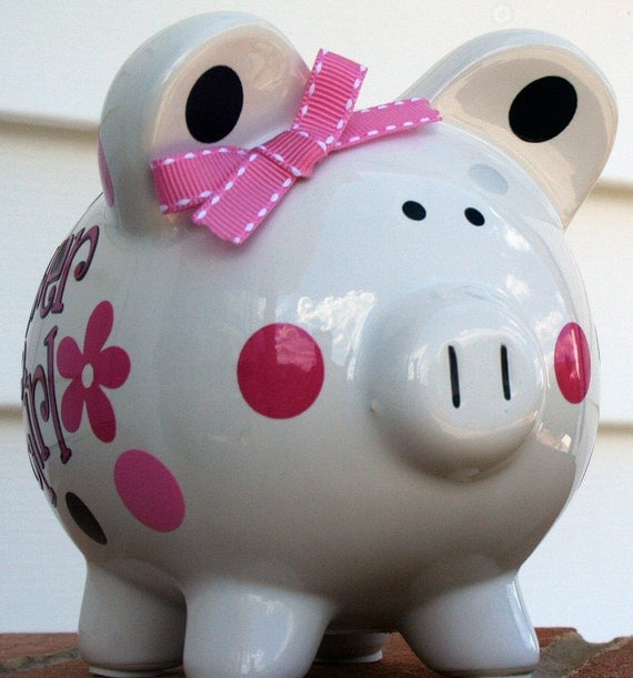 Vinyl Flower Girl Personalized Piggy Bank Small Size Wedding Gift by Three Little Pixies