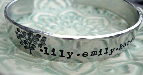 Hand Stamped Bracelet Personalized Bracelet Hand Stamped Cuff Bracelet Family Tree Bracelet