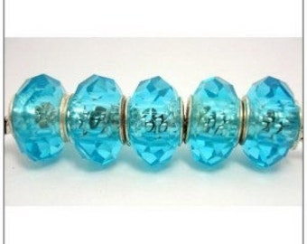 Sea Blue Faceted  Glass Beads fit European Charm Bracelet