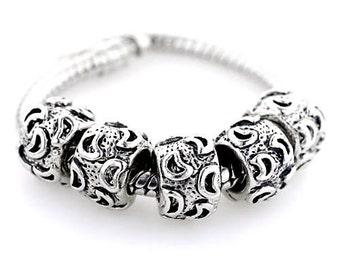 CRESENT MOON Silver  Metal Spacer Beads Fit  European Charm Bracelet