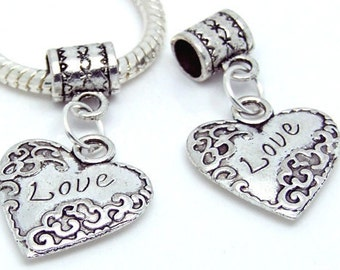 Heart with Love Charm Dangle  Bead Spacer Fits  European DIY bracelets